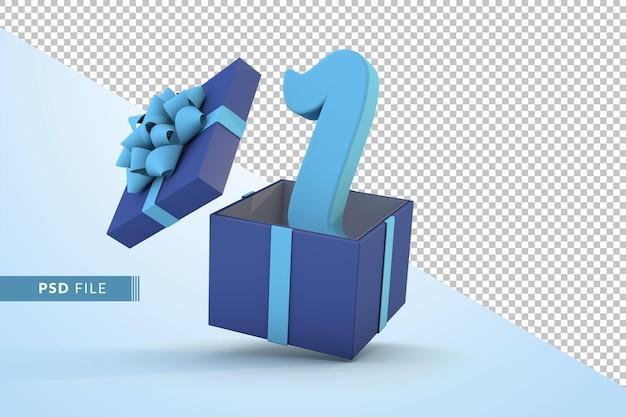 Синяя подарочная коробка и синий номер 1 концепция празднования с днем рождения 3d визуализации