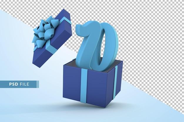Синяя подарочная коробка и синий номер 10 концепция празднования с днем рождения 3d визуализации