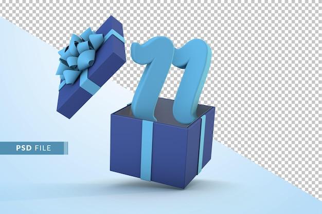 Синяя подарочная коробка и синий номер 11 концепция празднования с днем рождения 3d визуализации
