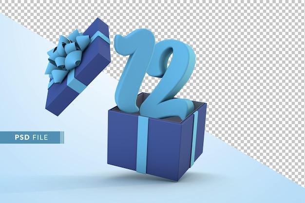 Синяя подарочная коробка и синий номер 12 концепция празднования с днем рождения 3d визуализации