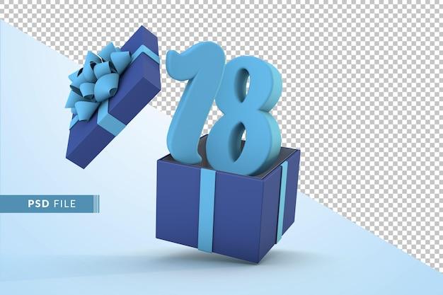 Синяя подарочная коробка и синий номер 18 концепция празднования с днем рождения 3d визуализации