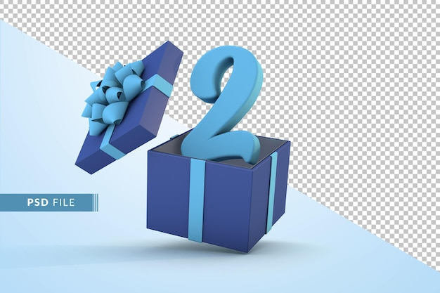 Синяя подарочная коробка и синий номер 2 концепция празднования с днем рождения 3d визуализации