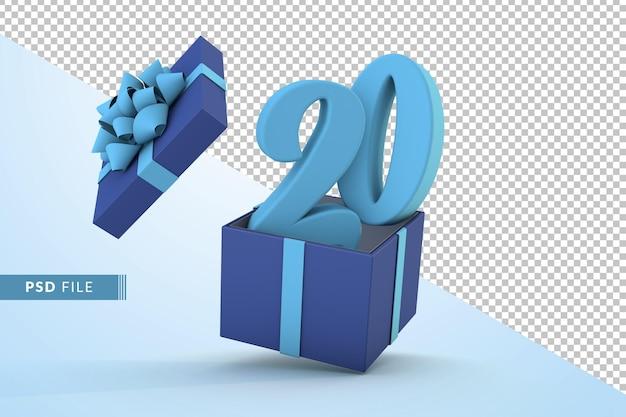 Синяя подарочная коробка и синий номер 20 концепция празднования с днем рождения 3d визуализации