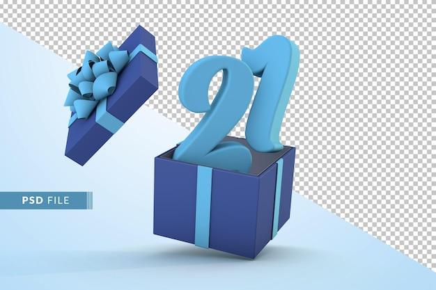 Синяя подарочная коробка и синий номер 21 концепция празднования с днем рождения 3d визуализации