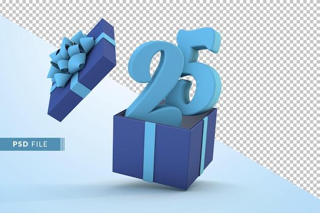Синяя подарочная коробка и синий номер 25 концепция празднования с днем рождения 3d визуализации