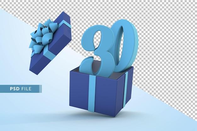 Синяя подарочная коробка и синий номер 30 концепция празднования с днем рождения 3d визуализации