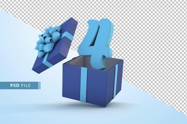 Синяя подарочная коробка и синий номер 4 концепция празднования с днем рождения 3d визуализации