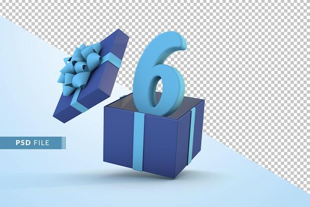 Синяя подарочная коробка и синий номер 6 концепция празднования с днем рождения 3d визуализации