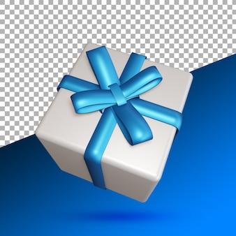 고립 된 3d 렌더링에 파란색 선물 상자