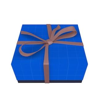 Мокап синей подарочной коробки с лентой