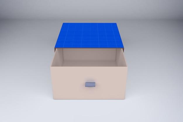 Мокап синей подарочной коробки