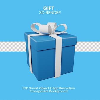 흰색 리본이 달린 파란색 선물 상자. 3d 그림