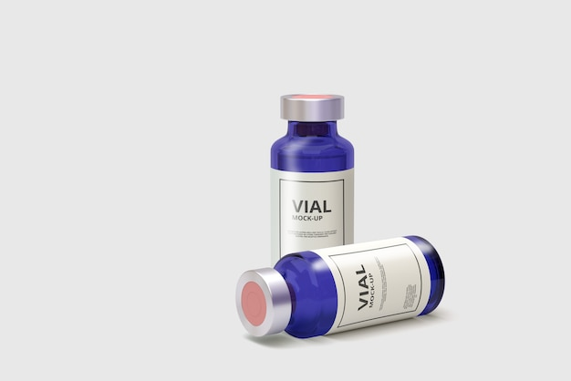 Blue glass medicine vial mockup
