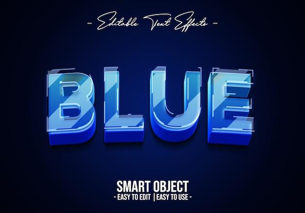 Эффект стиля текста синего стекла