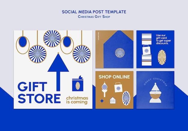 Post instagram del negozio di articoli da regalo blu e oro