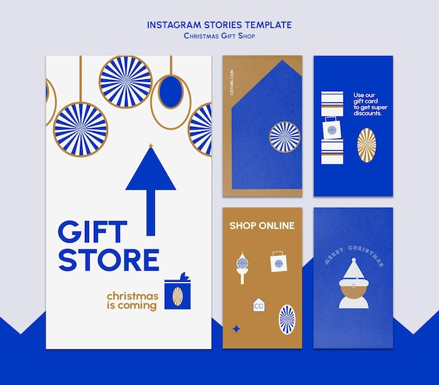 Storie di instagram del negozio di articoli da regalo blu e oro