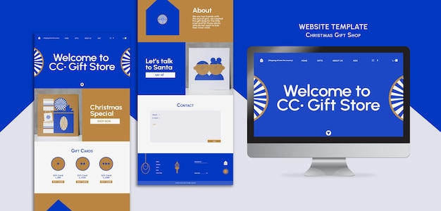 Modello web per negozio di articoli da regalo blu e oro