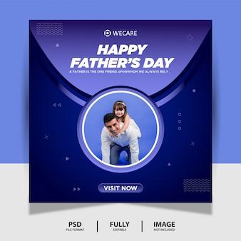 Blue gradient color день отца социальные медиа пост баннер
