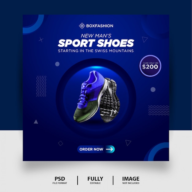 Blue gradient color спортивная обувь бренд продукт социальные сети instagram баннер