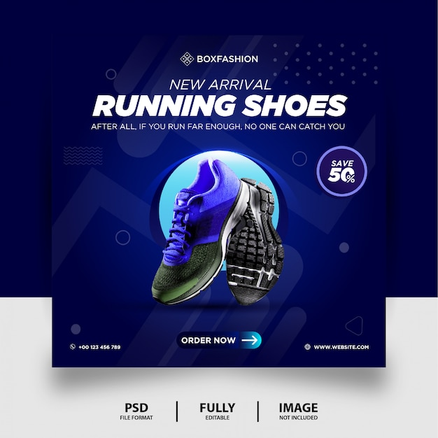 Blue gradient color running shoes brand product social media post banner