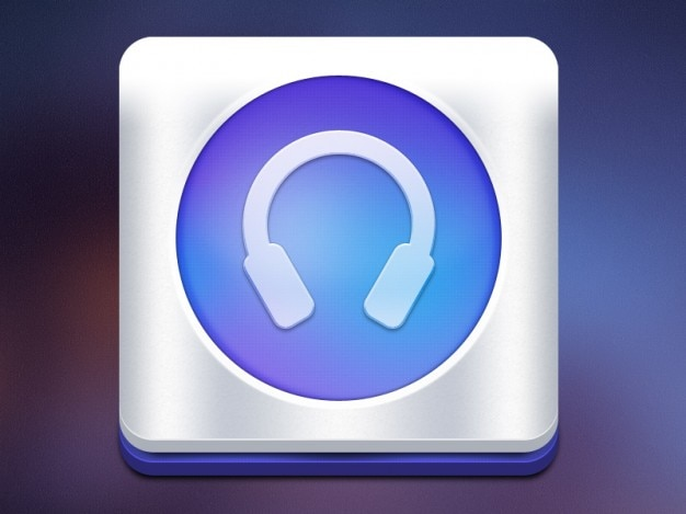 Blue headphones music icon in 3d