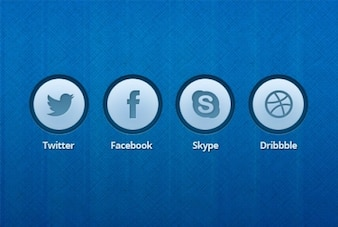 Blue icon buttons editable PSD