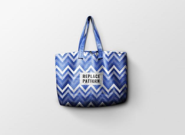 Синяя кожаная сумка-макет реалистично
