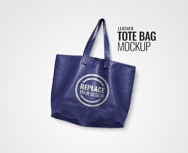 Blue leather tote bag mockup