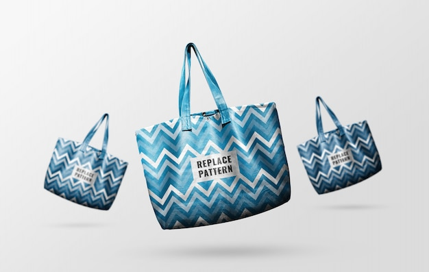 Blue leather tote bags mockup