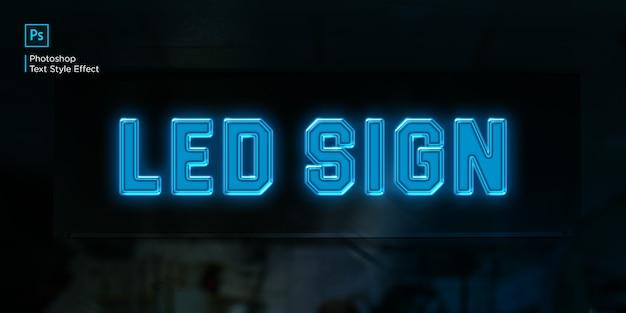 Blue led light sign text effect