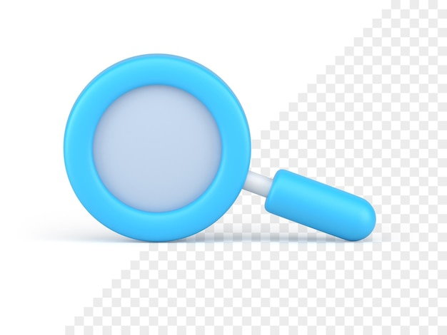 Blue magnifying glass icon 3d render. search and scaling tool. optical study with scientific research. business analytics with detailed analysis commercial stock market surges.