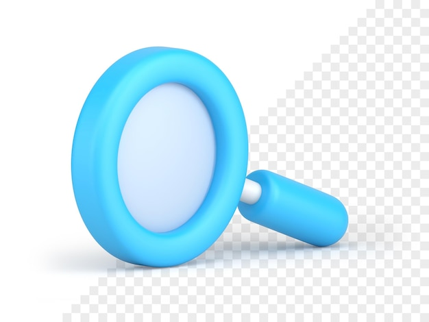 파란색 돋보기 아이콘 3d 렌더링