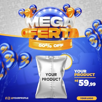 Blue mega offer promotion 50 percent off social media post template