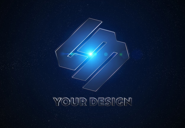 Blue metal logo in space mockup