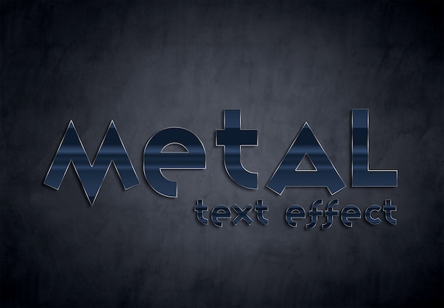 Blue metal text effect style mockup