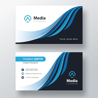 Blue minimal wavy business card