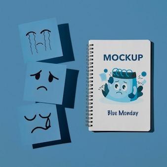 Концепция синего понедельника с макетом
