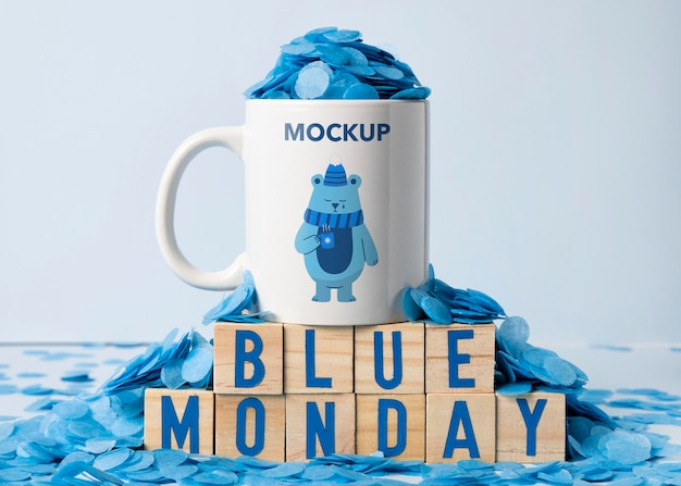Concetto di lunedì blu con mock-up