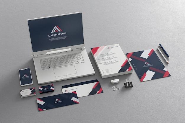 Blue navy stationery mockup company business laptop phone