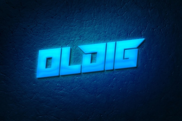 Blue neon logo mockup and text