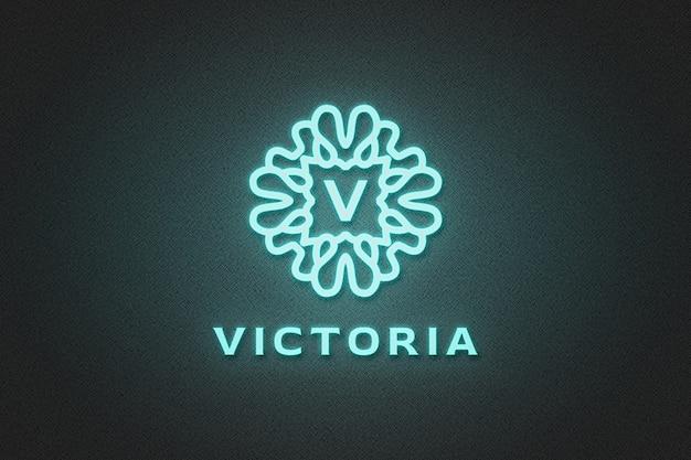 Мокап с синим неоновым логотипом
