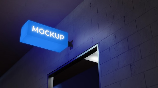 Blue neon night business sign