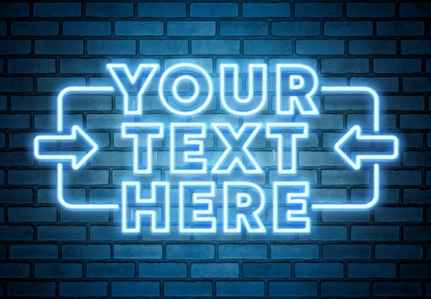 Blue neon text on brick wall mockup