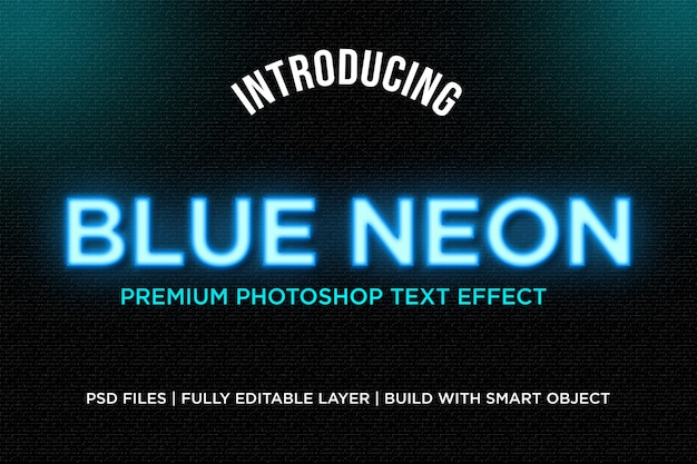Blue neon text style effect
