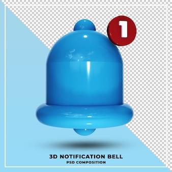 青い通知ベルの3dレンダリング