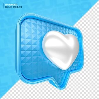 블루 11월 페이스북 심장 반응 구성을 위한 3d 렌더링
