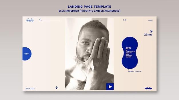 Modello di home page di novembre blu