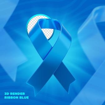 Синяя ноябрьская лента этикетка 3d визуализации для композиции