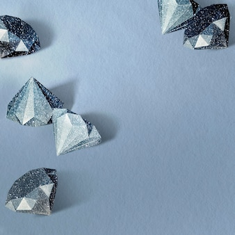 Blue paper craft diamond patterned template