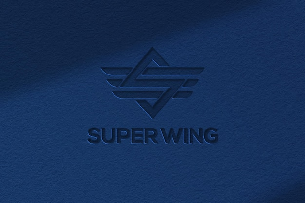 Blue paper embossed logo mockup template